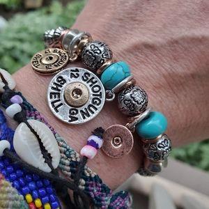 Shotgun Shell Turquoise beaded Boho charm Bracelet